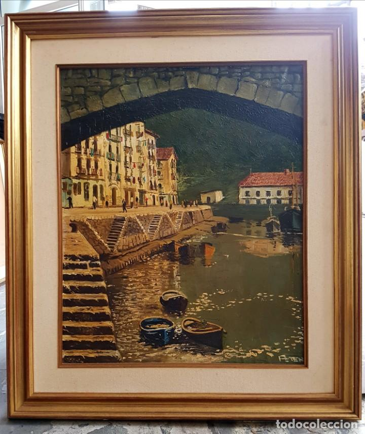 JOSÉ GUTIERREZ PETEN (1933-2014) - VISTA COSTERA EMBARCADERO. OLEO SOBRE TABLA. (Arte - Pintura - Pintura al Óleo Contemporánea )