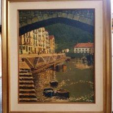 Arte: JOSÉ GUTIERREZ PETEN (1933-2014) - VISTA COSTERA EMBARCADERO. OLEO SOBRE TABLA. . Lote 133344510