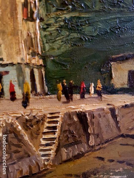 Arte: José Gutierrez Peten (1933-2014) - Vista Costera Embarcadero. Oleo sobre tabla. - Foto 6 - 133344510