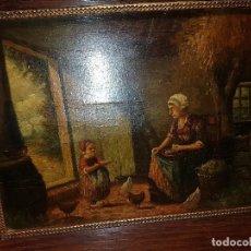 Arte: ANTIGUA PINTURA INTERIOR MADRE CON HIJA Y GALLINAS SG.XIX. OLEO SOBRE TABLA FIRMADO. Lote 133366106