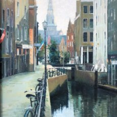 Arte: JOSEP MARIA VAYREDA CANADELL - CANAL DE AMSTERDAM - ÓLEO. Lote 133381706