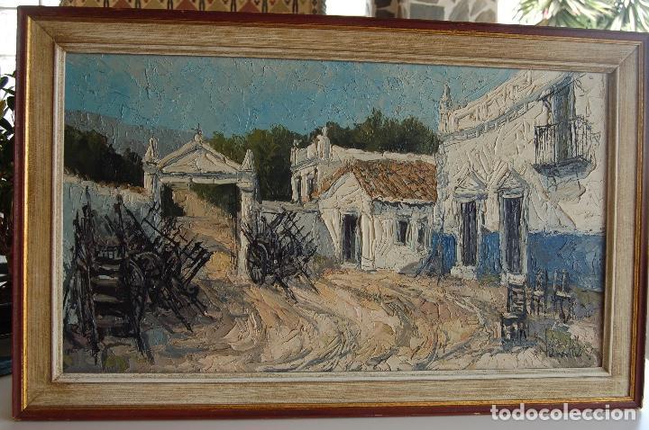 Arte: Firma sin identificar. Óleo sobre madera de 38x66 enmarcado 47x75. - Foto 2 - 133451606