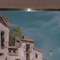 Arte: PINTURA DE PUEBLO MARINERO UTILIZANDO LA TÉCNICA ÓLEO SOBRE MADERA. Lote 133481294