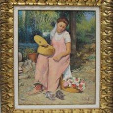 Arte: NIÑA CON FLORES - J. BORRELL - OLEO SOBRE LIENZO - 83X71 CM. Lote 109345536