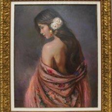 Arte: MUJER CON ROSAS - MARIO DÍAZ - OLEO SOBRE LIENZO - 102X86 CM. Lote 109345670