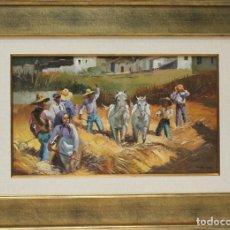 Arte: SEGADORES - ESCUELA SOROLLA - OLEO SOBRE LIENZO - 69X50 CM. Lote 121106122