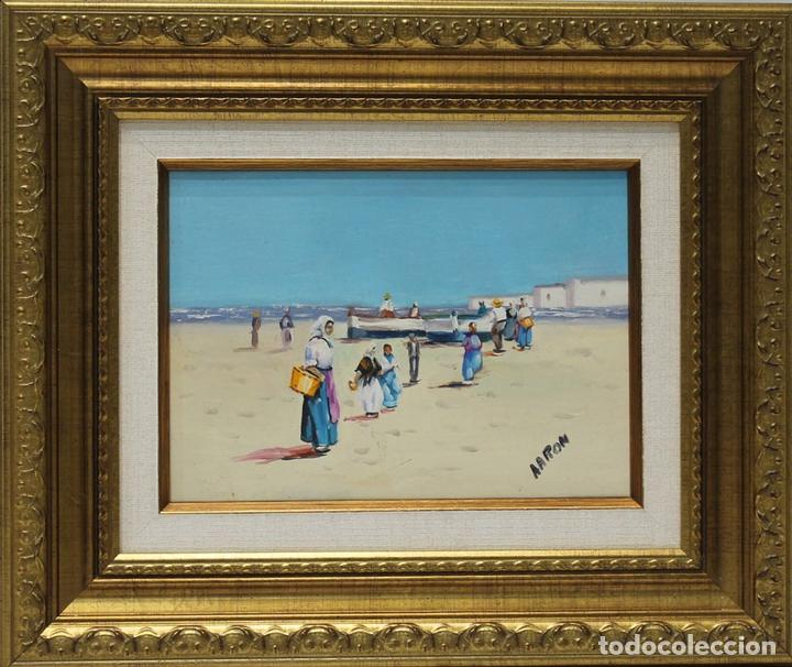 PESCADORES - ESCUELA SOROLLA - ÓLEO SOBRE LIENZO - 37X31 CM (Arte - Pintura - Pintura al Óleo Contemporánea )