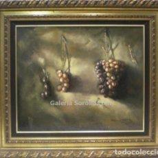 Arte: BODEGON UVAS - ANTONIO SEGOVIA - OLEO SOBRE TABLA - 81X71 CM. Lote 98733562