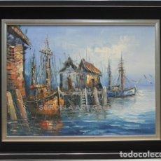 Arte: BARCOS - ESCUELA HOLANDESA - OLEO SOBRE TABLA - 52X42 CM. Lote 98733754