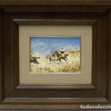 Arte: BATALLA ÁRABE - REIG - OLEO SOBRE TABLA - 45X40 CM. Lote 98734024