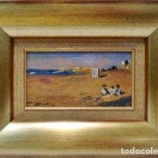 Arte: VISTA DE PLAYA - MAURICE ERLICH - OLEO SOBRE TABLA - 47X36 CM. Lote 98734092