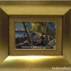Arte: PESCADORES - MAURICE ERLICH - OLEO SOBRE TABLA - 44X37 CM. Lote 98734096