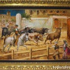 Arte: ENCIERRO - LÓPEZ CANITO - OLEO SOBRE LIENZO - 115X88 CM. Lote 98734468