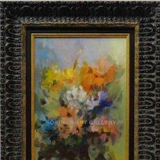Arte: FLORES - JOSE ANTONIO BORRÁS - OLEO SOBRE TABLA - 49X40 CM. Lote 98735095