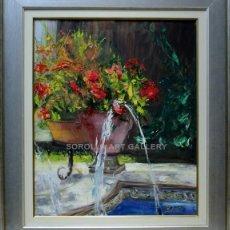 Arte: FUENTE Y MACETAS - ROSA MARIA - OLEO SOBRE LIENZO - 86X75 CM. Lote 98735896