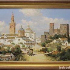 Arte: VISTA DE CARMONA - MANUEL FERNÁNDEZ - OLEO SOBRE LIENZO - 78X59 CM. Lote 98736646