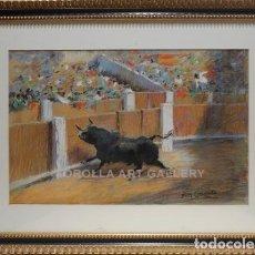 Arte: TORO - JOSÉ GONZÁLEZ - OLEO SOBRE TABLA - 78X58 CM. Lote 98736958