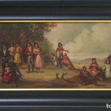 Arte: ESCENA COSTUMBRISTA - JOSÉ PALOMAR - OLEO SOBRE TABLA - 70X40 CM. Lote 98737506
