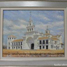 Arte: ERMITA DEL ROCIO - EMILIO ZURRÓN - ACRÍLICO SOBRE LIENZO - 85X70 CM. Lote 98738540