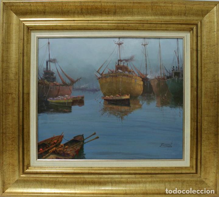 BARCAS - ESCUELA HOLANDESA - OLEO SOBRE LIENZO - 81X72 CM (Arte - Pintura - Pintura al Óleo Contemporánea )
