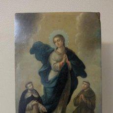 Arte: COBRE DEL S-XVIII. INMACULADA CON SAN FRANCISCO Y SANTO DOMINGO. (CÍRCULO DE MIGUEL CABRERA). Lote 133623834
