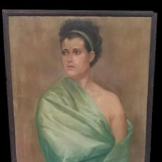 Arte: ANTIGUO ÓLEO SOBRE LIENZO, RETRATO DE UNA SEÑORA, MUJER. SIGLO XIX. 100X70CM. MUY ESPECIAL. Lote 126649043
