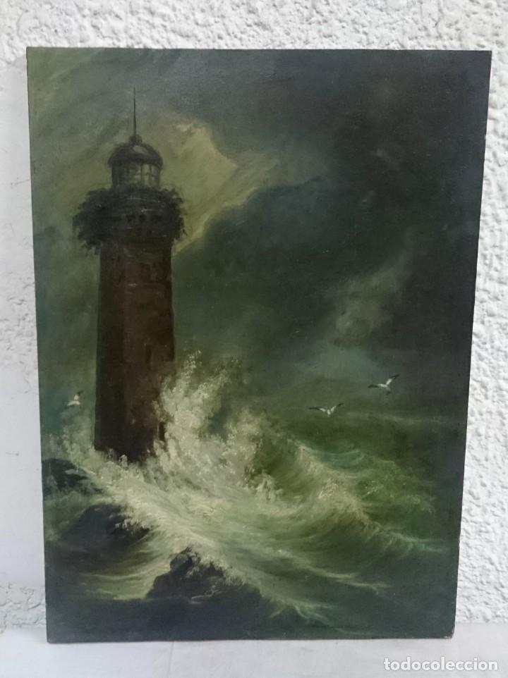 Arte: Antiguo óleo sobre tabla de cerezo. Faro en el mar. Pintura especial. Siglo XIX. 42x31x2 cm - Foto 2 - 132427238