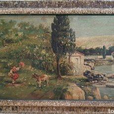 Arte: ESCUELA ESPAÑOLA (ASTURIANA ?) S.XIX , NIÑA CON CABRITA Y PAISAJE 38 X 65. Lote 133635042