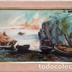 Arte: MAGNIFICO CUADRO DE JOSEP MARFA GUARRO - LLANÇA- AÑO 1980 - OTRA TECNICA DEL AUTOR -. Lote 133639330