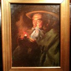 Arte: ENCENDIENDO LA PIPA POR LUIS GRANER (1863-1929). Lote 133658350