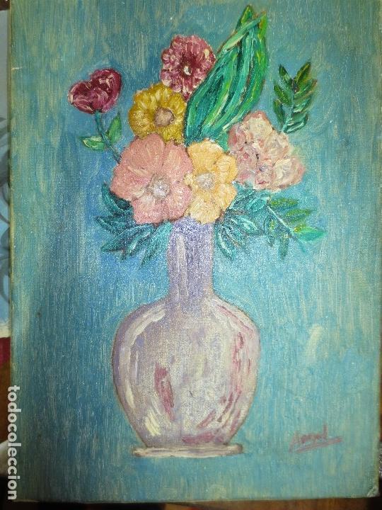 OLEO ANTIGUO FLORES EN LIENZO FIRMADO PROCEDENTE DE ALICANTE (Arte - Pintura - Pintura al Óleo Antigua sin fecha definida)