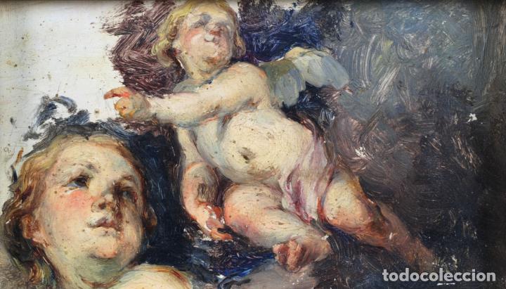 Arte: Apunte pareja de querubines óleo sobre tabla siguiendo modelos de Murillo siglo XIX - Foto 2 - 133721334