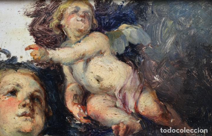 Arte: Apunte pareja de querubines óleo sobre tabla siguiendo modelos de Murillo siglo XIX - Foto 3 - 133721334