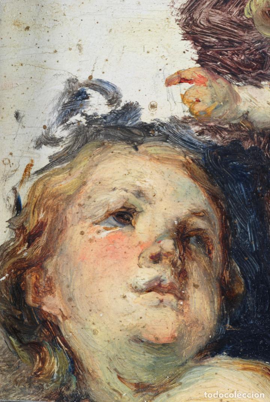 Arte: Apunte pareja de querubines óleo sobre tabla siguiendo modelos de Murillo siglo XIX - Foto 4 - 133721334