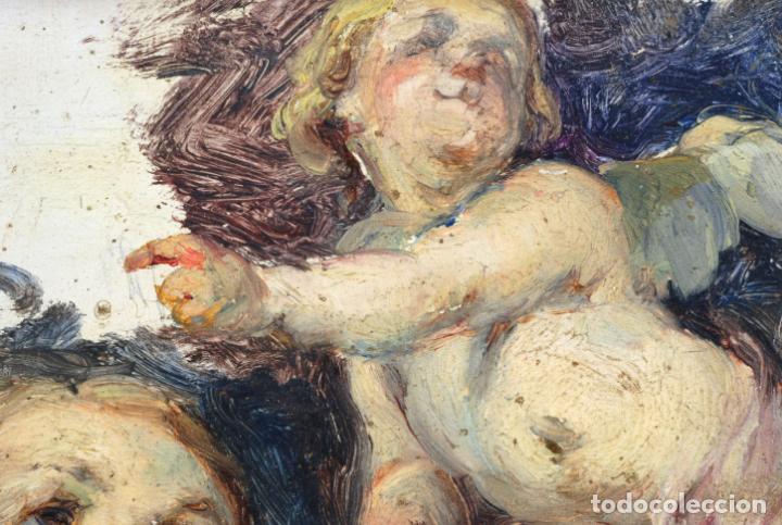 Arte: Apunte pareja de querubines óleo sobre tabla siguiendo modelos de Murillo siglo XIX - Foto 5 - 133721334