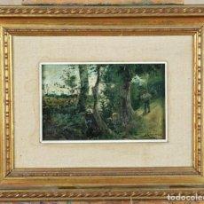 Arte: PAISAJE DE LOS PIRINEOS ÓLEO SOBRE TABLA LEANDRO RAMÓN GARRIDO 1868 1909 FECHADO EN 1890. Lote 133725878