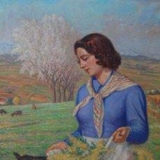 Arte: RAMON PALMAROLA ROMEU ( BARCELONA, 1877 - 1954 ) - MUCHACHA ALIMENTANDO A UNA CABRILLA. Lote 133756630