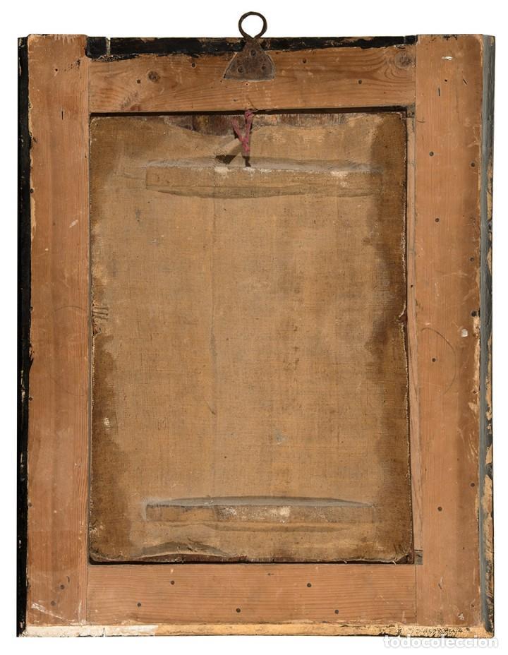 Arte: ÓLEO S/TABLA, ESCUELA HISPANOFLAMENCA S. XVII -CALVARIO-, CON MARCO DE ÉPOCA. DIM.- 71X56 CMS - Foto 5 - 133772230
