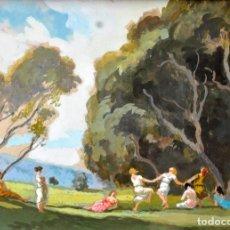 Arte: ALEXANDRE COLL BLANCH (BARCELONA 1898-1975) GOUACHE SOBRE PAPEL D LOS AÑOS 30. LA DANZA D LAS NINFAS. Lote 32285228