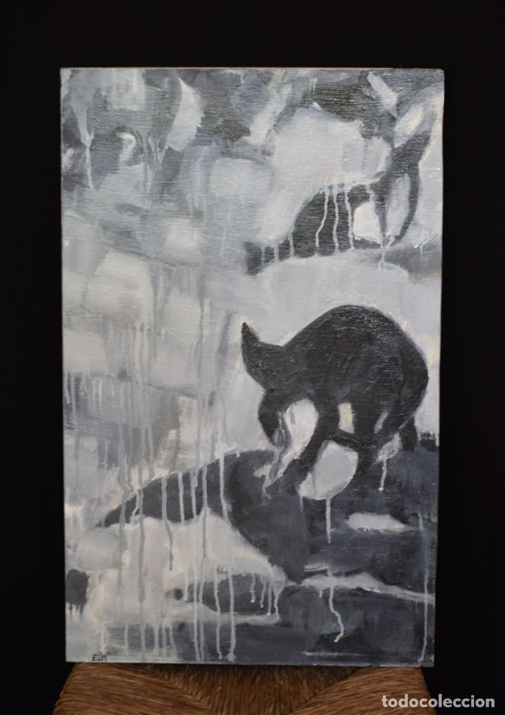 ÓLEO ORIGINAL, GATO EN SOMBRAS (Arte - Pintura Directa del Autor)