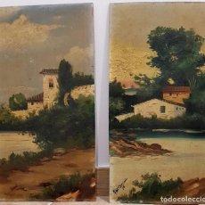 Arte: ESCUELA ESPAÑOLA, FINALES XIX - VISTA PAISAJE RURAL, PAREJA DE OLEOS SOBRE TABLA. FIRMADOS. . Lote 133816150