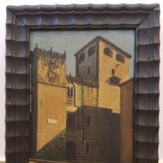 Arte: PUERTA DE LOS GOLFINES, CACERES, 1941, FIRMADO Y FECHADO. OLEO SOBRE LIENZO. GRAN CALIDAD.. Lote 133829643