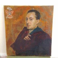 Arte: RETRATO DE NOBLE CON SU ESCUDO NOBILIARIO EN ESQUINA SUPERIOR IZQUIERDA. ÓLEO SOBRE LIENZO, S XIX.. Lote 133859295