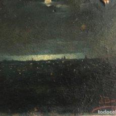 Arte: ÓLEO SOBRE CARTULINA, BARCELONA DE NOCHE, FIRMADO J. BORRELL 1890. Lote 133892038