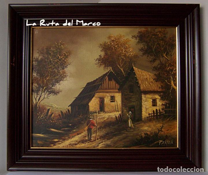 Arte: Pastor - Dos cuadros de óleo sobre lienzo enmarcados - Foto 2 - 133959286