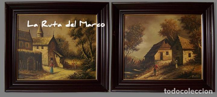 Arte: Pastor - Dos cuadros de óleo sobre lienzo enmarcados - Foto 3 - 133959286