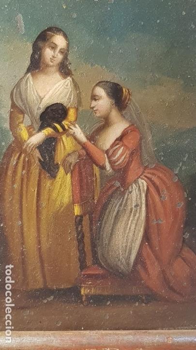 OLEO COBRE DAMA (Arte - Pintura - Pintura al Óleo Antigua siglo XVIII)