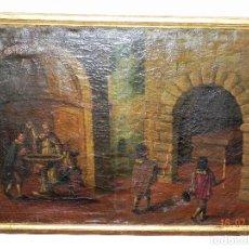 Arte: ÓLEO SOBRE LIENZO SIGLO XVIII, ALEGORIA DE LA VIDA ESCENA BAUTISMAL Y FUNERAL. Lote 202580025
