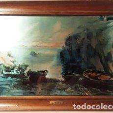 Arte: MAGNIFICO CUADRO DE JOSEP MARFA GUARRO - PINTURA SOBRE CRISTAL - BARCAS - AÑO 1990 -. Lote 134040842