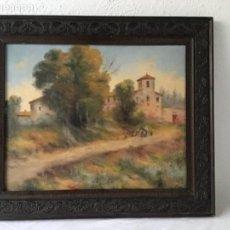 Arte: OLEO SOBRE LIENZO , ESCENA COSTUMBRISTA PAISAJE. FIRMADO MIR. 1920'S OBRA A ESTUDIAR.. Lote 134060062
